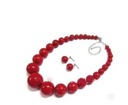 Wholesale Red Coral Beads Necklace Sets - Cheap hot sales Charming Women's jewelry red coral bead necklace earring set   Free Shipping