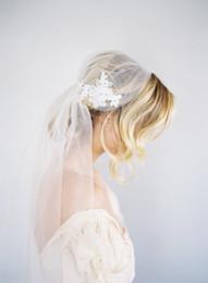 Wholesale Plain One Piece - 2016 New high Quality Best Sale Fingertip short White Ivory Lace Applique Cut Edge Veil Bridal Head Pieces For Wedding Dresses