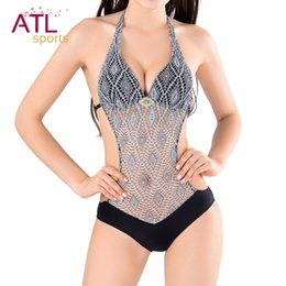 Wholesale Wholesale Crochet Swimsuits - Wholesale- Crochet One Piece Swimsuit Women Monokini Trikini Halter Push Up Swimwear Female Swimming Suit For Women 2016 Bathing Suits
