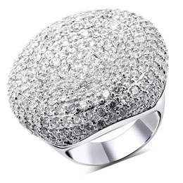 Bague pavée platine en Ligne-LUXURY top qualité platine / 18K or blanc plaqué rond cocktail micro pavé zircon CZ diamant index bagues pour la fête