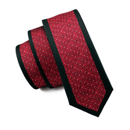 Wholesale Mens Wedding Suits Red Tie - 2016 Fashion Brand Striped Design Mens Ties Skinny Casual Men's Business Suit Slim Narrow Red Print Neck Tie For Wedding E-125