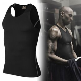 Wholesale athletic tank tops - Men Athletic Fitness Vest Shirt Workout Gym Tank Tops Training Sleeveless Tee