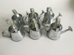 Wholesale Tin Boxes Party Favors - 30Pcs Silvery color Party Favors Mini Watering cans pure Candy Box tin box Iron pots metal decorative mini watering cans