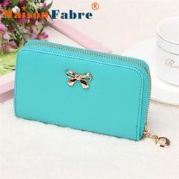 Wholesale Cheap Wholesale Fashion Handbag - Wholesale-New brand cartera billetera mujer 2015 cheap Women Korean Cute Bowknot Purse Solid Long Leather Wallet Handbag