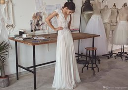 Wholesale Wedding Dresses 14 - Boho Wedding Dresses Lihi Hod 2017 Bohemian Bridal Gowns with Cap Sleeves and V Neck Pleated Skirt Elegant A-Line Bridal Gowns Low Back
