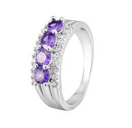 Wholesale Antique Cz Ring - Most Fashion 18k white gold plated Purple AAA CZ Ring antique wedding band Engagement Rings Party ring for women girls HR-011