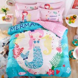Wholesale Bedding Sets For King Size - Pretty Mermaid Print Cartoon Style Full   Queen   King Size 100% Cotton Bedding Set for children