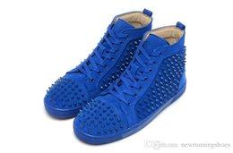 Wholesale Womens Studded Flats - new 2016 shoes arrival mens womens matter leather with Spike Studded high top sneakers,designer causal flat sports shoes 36-46