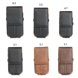 Wholesale Leather Belt Cases - For Iphone X 8 7 Plus 6 6S 5 Galaxy S9 S8 S7 Note 8 5 Universal Vertical Hip Belt Purse Buckle Stone Leather Case Buckle Flip PU Pouch Cover