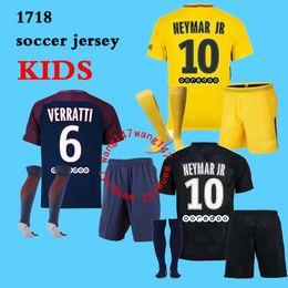 Wholesale Kids T Shirts Boy - New Paris NEYMAR JR AURIER kids kit shirt T SILVA CAVANI DI MARIA PASTORE Verratti Matuidi seasons 2017 2018 boy child LUCAS jerseys