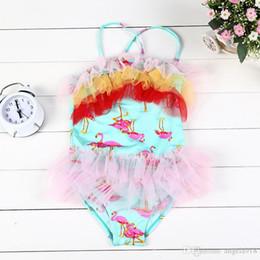 Wholesale Gauze Swimwear - 2016 summer children swimsuit girls colorful lace gauze suspender One-Pieces kids flamingos printed swimwear girls beach swimsuit E1127