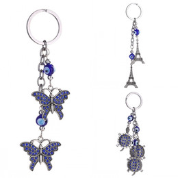 Wholesale Butterfly Keychains - Blue Keychain Butterfly Turtle Tower Key Ring Creative Handbag Pendant Phone charms Hanging For Women Bags Small Gifts D308Q