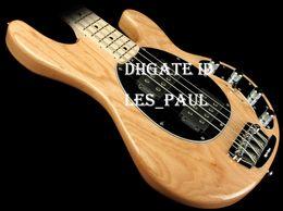 Canada Cendres Bois Corps Musique homme 4 Cordes Basse Erime Ball StingRay Guitare Électrique Finition Naturelle HH Pickup Actif Chrome Matériel En StocK Offre