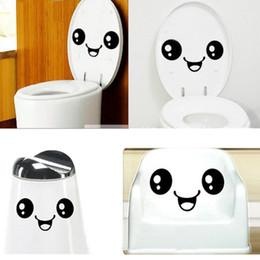 Wholesale Funny Bathroom Decorations - 300pcs Funny Big Smile Face Toilet Stickers WC Bathroom Wall Sticker Waterproof Vinyl Door Decals Mural Art Home Decorations ZA0439
