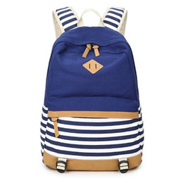 Wholesale School Satchels For Girls - Women Fashion Bagpack Female Canvas Striped Printing Backpack Women Computer Back Pack Lady School Bags for Teenagers Girls Bag Rucksack