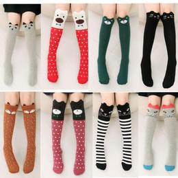 Accesorios de rodilla online-Los calcetines de los niños lindos de la historieta imprimen el algodón animal Los calcetines de los niños del bebé calzan los calcetines largos largos del zorro para la muchacha del niño Accesorios de la ropa