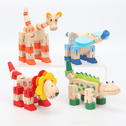Wholesale Wooden Toy Lion - 1set Hot Sale Baby Wooden Toy Animal Elephant Lion Giraffe Crocodile Dinosaurs Handmade Educational Toys for Baby