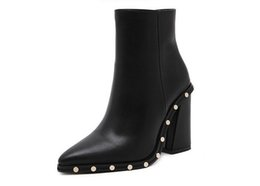 Wholesale Almond Boots - 2017 Women Thick Heel Ankle Boots Autumn Winter Rivets High Heel Shoe Brand Designer Fashion Pointed Toe Ankle Boot