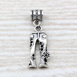 Wholesale Hippie Bracelets - MIC .100pcs  lot Dangle Ancient silver Jeans Floral Flower Hippie Pants Charm Big Hole Beads Fit European Charm Bracelet Jewelry A-113a