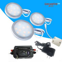 entrada de adaptador 12v Desconto Controle de RF quente e regulável 3 pcs Entrada v 12 DC 1.8 W LED Puck / Luz Do Armário, Refletor LED + 1 linha de conexão + 12 v 8a RF led dimmer + adaptador 12 v 1a