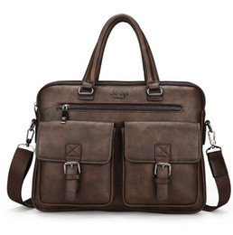 Wholesale Cool Business Bags - Factory wholesale brand mens bags fashionable three-dimensional double pockets business documents cool high-quality leather laptop bag