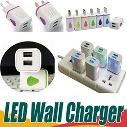 Wholesale Travel Adapter Led - LED Dual USB 2 Ports Wall Charger Light Up Water-drop Home Travel Power Adapter 5V 3.1A AC US EU Plug For Samsung LG HTC Tablet Mobile Phone