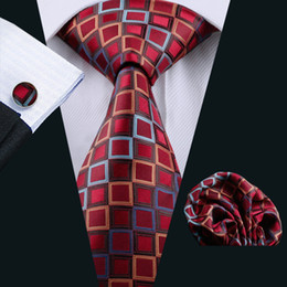 Wholesale Check Suits For Men - Fashion Business Suits Red Tie For Men Popular Men's Tie Cravats Brand Apparel Silk Jacquard Striped Woven Tie Neckties N-1115