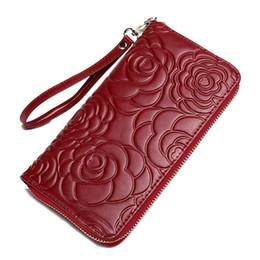 Wholesale Genuine Leather Bolsos - Wholesale-Genuine Leather Women Wallets Famous Brand Zipper Long Clutch Bags Wallet Purse Candy Color Handbags Casual Bolsas Bolsos