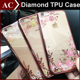 Wholesale Gold Diamond Iphone Shell - Luxury Bling Diamond Electroplate Frame Soft TPU Case For iPhone 5 SE 6 6S Plus Galaxy S6 S7 Edge j5 Secret Garden Flower Clear Cover Shell