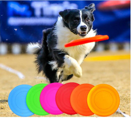 Wholesale Soft Flying Disc Dogs - 10pcs lot 17.5cm Super Soft Silicone Resistant Biting Flying Saucer Pet Frisbee small dogs Special Toys Chews Training Frisbee Pet Supplies