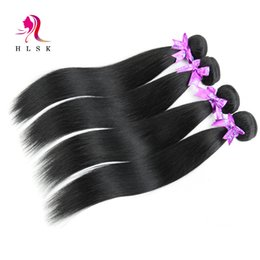 Wholesale Straight Human Hair 3pcs - 100% 3pcs Brazilian Straight Human Hair Bundles Jet-black Straight Virgin Hair Products Tangle Free Double Weft Black Hair Extensions