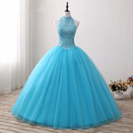 Wholesale Lilac Aqua Dresses - 2017 Aqua Blue Ball Gown Quinceanera Dresses High Neck Sleeveless Beaded Lace Appliques Open Back Corset Puffy Tulle Sweet 16 Dresses