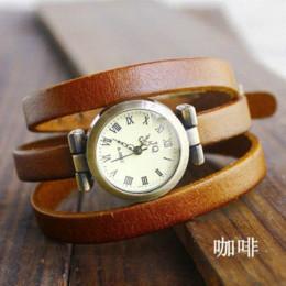 Wholesale Cow Leather Watch Punk - Top Quality Amazing Punk Cow Leather Watch women ladies fashion dress quartz wrist Watches Relogios Feminino kw026