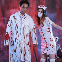 Wholesale Adult Cosplay Models - Adult Halloween super bloody party dress Cosplay horror horrible girl nurse dress and doctor's clothes male models female models multi-code