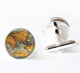 Wholesale Round Green Cufflinks - 1 pair World Map Cufflinks Silver plated Old World Map Cuff links for men and women round glass cufflinks