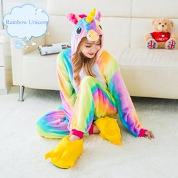 Wholesale galaxy costume - Unicorn Pajamas Woman Kigurumi Rainbow Star Unicorn Pyjamas Halloween Party Onesie Cosplay Costume With Tail Horn Galaxy Sleepwear Jumpsuit