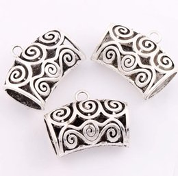Wholesale Wholesale Jewelry Scarfs - Filigree Scarf Bails Floral and Swirls 12pcs lot 34.6x43mm Tibetan Silver Charms Fashion Jewelry DIY L791