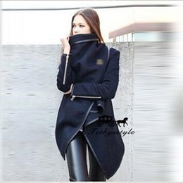 Wholesale Long Woolen Dresses - Woolen Foreskin Skirt Irregular Loose Black Coat Warm Zipper Decoration Overcoat Women Winter For Dress Coats