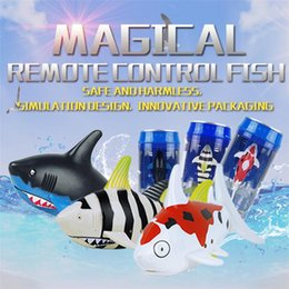 Wholesale Water Control Boats - Mini RC Shark Under Water Coke Zip-top Remote Control Shark Fish Kids Electric Water Game Boat Submarine Toy LA560