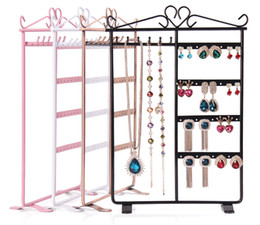 Wholesale Layer Metal Earrings - High Quality Earrings Display Shelf 6 Layers Earring Holder Rack Jewelry Hanger Frame Dangle Earring Show Necklace Ear Stud Case