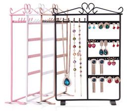Wholesale Metal Frame Display - High Quality Earrings Display Shelf 6 Layers Earring Holder Rack Jewelry Hanger Frame Dangle Earring Show Necklace Ear Stud Case