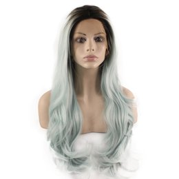 Wholesale Kanekalon Cosplay Wig - SF5 Front Lace Wig Ombre Dark Root Light Blue Wig, Ombre Synthetic Wavy Wig Blue Stylish Kanekalon Cosplay Wig Natural Hairline