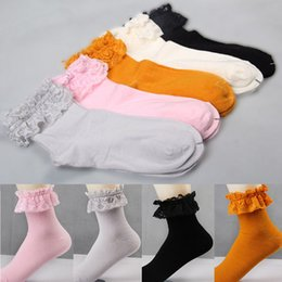 Wholesale Favorite Socks - Wholesale-5 Colors 1 Pair Fashion Women Vintage Lace Ruffle Frilly Ankle Socks Lady Princess Girl Favorite