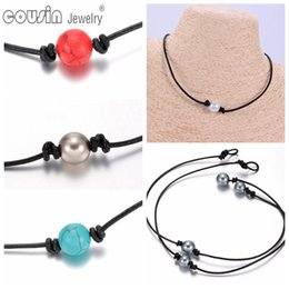 Wholesale Handmade Jewelry Sale - New Arrivals Hot sale Pearl Leather Choker Many styles Imitation Pearl Handmade leather Necklace DIY Leather Choker Pearl Jewelry