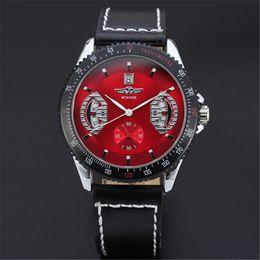 cajas de liquidación Rebajas Ganador de la moda Banda de Cuero de Acero Inoxidable Esqueleto Mecánico Relojes de pulsera Para Hombres Mecánico de la mano viento Relojes de lujo + caja
