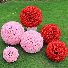 Wholesale Satin Kissing Balls - Elegant White Artificial Rose Silk Flower Ball Hanging Kissing Balls 30cm 12 Inch Ball For Wedding Party Decoration Supplies