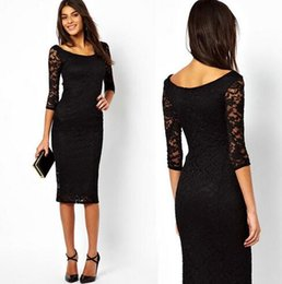 Wholesale Wholesales Midi Dresses - DHL Free Fancy openwork embroidery lace dress Fashion street style lace Casual Dresses Sexy Spring Autumn Party Gowns Midi Dresses