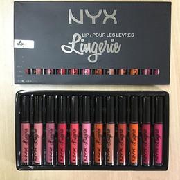 Wholesale 12pcs Lingerie - Drop ship NYX 12pcs kit NYX LIP LINGERIE NYX lip lingerie liquid Matte lipstick Lip Cream Lipstick 12 colors Charming Long-lasting vs nubian