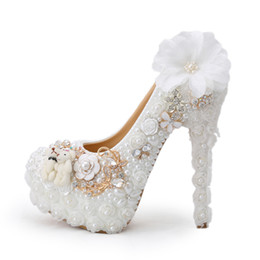 Wholesale Pearl Bear Rhinestones - 2016 Special Design Wedding Shoes White Pearl High Heel Bride Dress Shoes Lace Flower and Lovely Bear Platform Prom Party Pumps