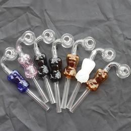 Argentina Sex Girl tubos de vidrio Curved Glass Oil Burners Tuberías 4 colores con diferentes equilibradores de colores Tubos de agua pipas de fumar hookahs bongs de vidrio Suministro